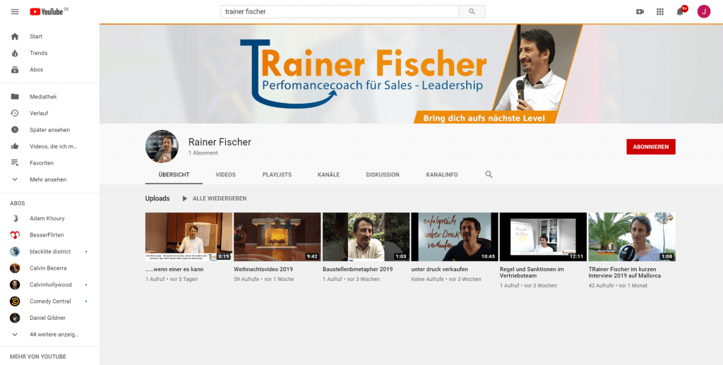 Trainer Fischer - Perfomancecoach - Leadership - YouTube Titlebild