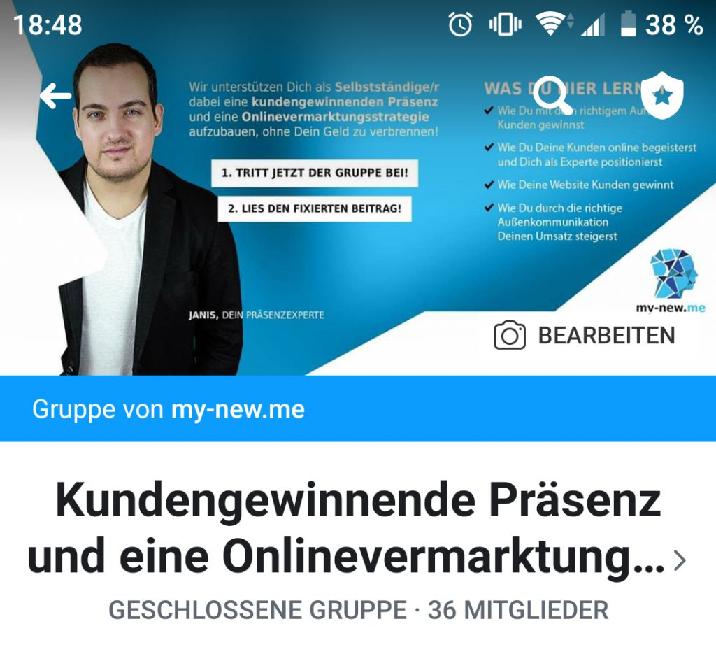 Facebook Titelbild von my-new.me in der Mobile-Ansicht