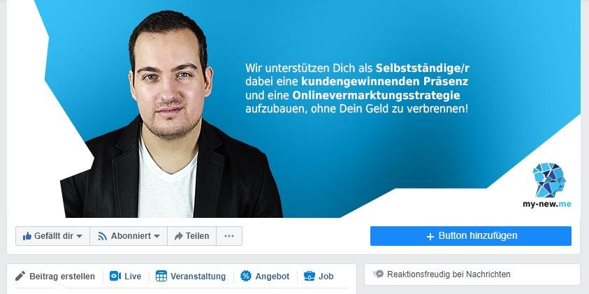 Titelbild der Facebook Fanpage von my-new.me in der Desktop-Ansicht. Zu sehen ist Janis Hau mit seinem Pitch