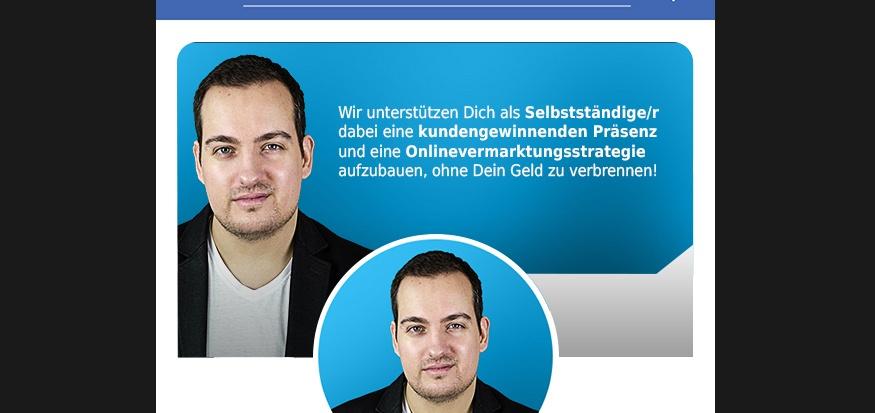 Titelbild der Facebook Fanpage von my-new.me in der Mobil-Ansicht. Zu sehen ist Janis Hau mit seinem Pitch