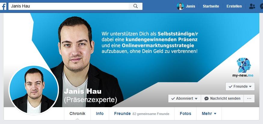 Facebook Titelbild von Janis Hau im Stil von my-new.me in der Desktop-Ansicht
